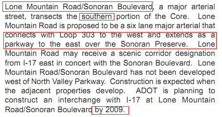 2008 North Gateway Core Plan Text Explaining Sonoran Boulevard Aligns with the 303 and Extends into the Preserve