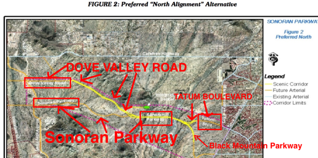 2004 Preferred Northern Alignment Detail, Annotated, Showing Sonoran Parkway(Boulevard) along the 303/Lone Mountain Alignment