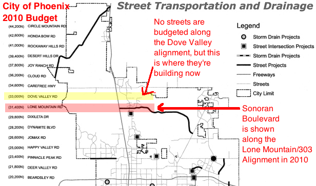 2010 Budget Showing Sonoran Blvd Along the Lone Mountain/303 Alignment