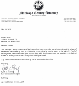 Letter from Maricopa County Attorney Regarding Information Forwarded to FBI Regarding Possible Misuse of Prop 400 Funds by the City of Phoenix