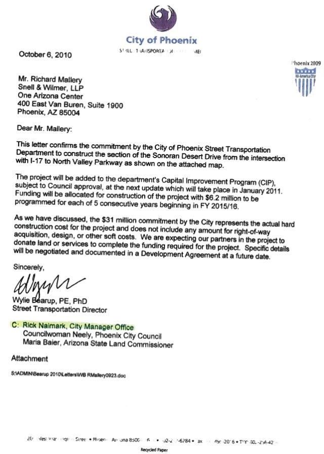 Sonoran Desert Dr to 303/I-17 Bridge Commitment Letter